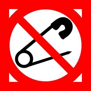 Het verbodsbord veiligheidsspeld (verboden voor veiligheidsspelden) is een geregistreerd logo van Globos Ballonnen B.V.
